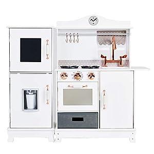 Teamson Kids- cocina de juguete de madera, Color oro blanco y rosa (TD-12952A)