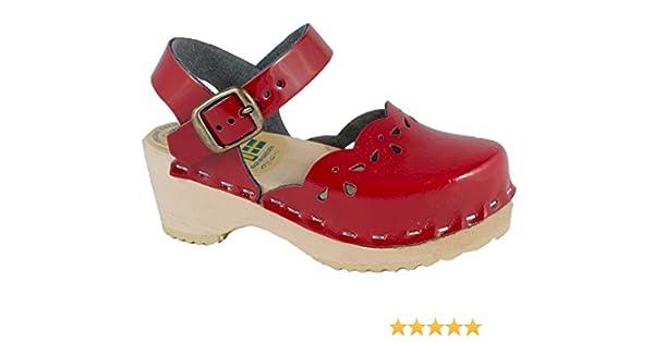 Original Schwedenclogs Kinderclogs Holzclogs Sandalette Lackleder rot