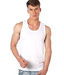 ONN Premium Wear NB121 Mens white Cotton Vest Pack of 6 (Large)