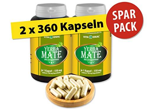 Alten Yerba Mate (VITA IDEAL ® Yerba-Mate-Blätter (Ilex paraguarensis) 2x360 Kapseln je 550mg, aus rein natürlichen Kräutern, ohne Zusatzstoffe)