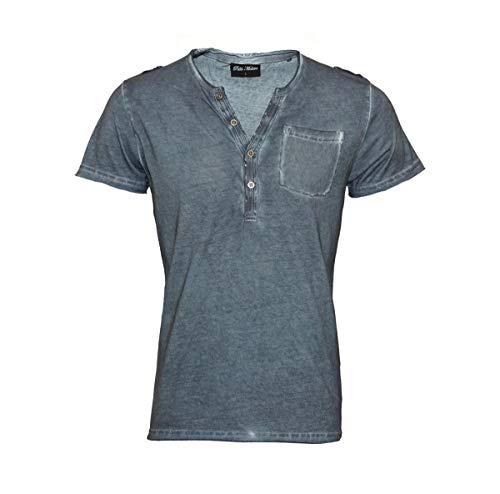 Pablo Malone T-Shirt Henley Knopfleiste JH1701091 Blue Ink by Poolman Größe XL