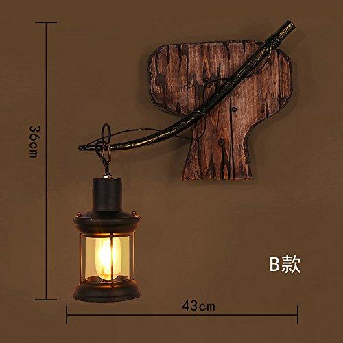 Vintage Bett aus Holz Industrielle Luft Persönlichkeit dekorative Wand Lampe, 43 x 36 cm