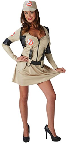 Fancy Ole - Damen Frauen Ghostbusters Lady Kostüm, Beige, Größe (College Halloween Kostüme Girl)