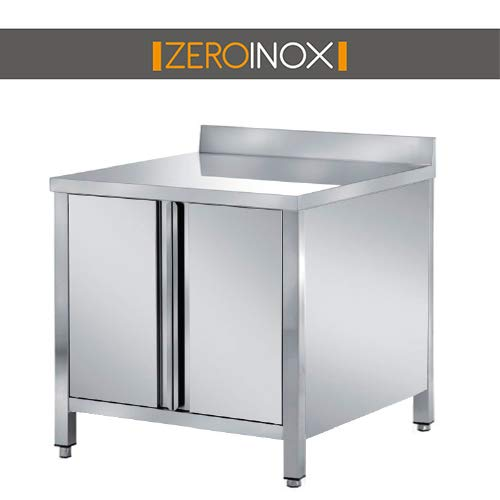 ZeroInox Tisch mit Türen und Türen aus Edelstahl, professionell, alle Maße, Tiefe 60 cm. Küche Catering Restaurant Pizzeria Hotel