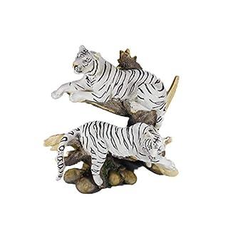 2 weiße Tiger auf Baumstamm 20 x 20 cm Asien Afrika Tier Figur Deko GG 6977