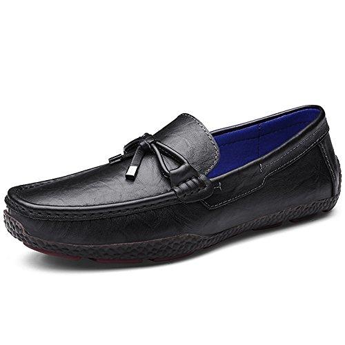 Rismart Hommes Respirant Réal Cuir de Vache Conduite Flâneur Chaussures Super Confortable Coutume Pantoufle Mocassins Noir