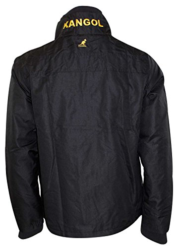 Mens Kangol Fleece Linie Trichter Hals Double Zip Up Mantel Dusche Beweis Jacke Black