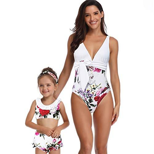 Mutter und Tochter Swimwear Zwei Stücke niedlich Ruffled Printed Top mit Bottom für Tochter One Piece Deep V-Neckline Sexy Printed Strappy Swimsuit für Mutter,Children,104 - Ruffled Zwei Stück