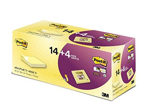 Post-It Super Sticky Foglietti Promo Pack di 14 + 4 Gratis, 76 x 76 mm, Giallo Canary