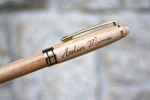 Personalisiert Kugelschreiber, hölzern Stift, Gravur mit Namen, mit Ihrem Text, individuell graviert, Geschenk Geburtstag oder Hochzeit