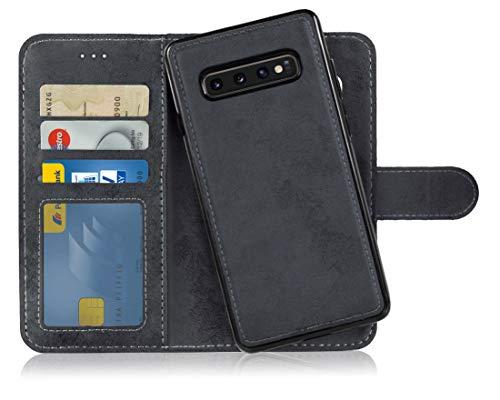 MyGadget Flip Case mit Back Cover [2 in 1] Hülle für Samsung Galaxy S10 Plus - Magnetische PU Leder Klapphülle mit Kartenfach Schutzhülle in Schwarz -