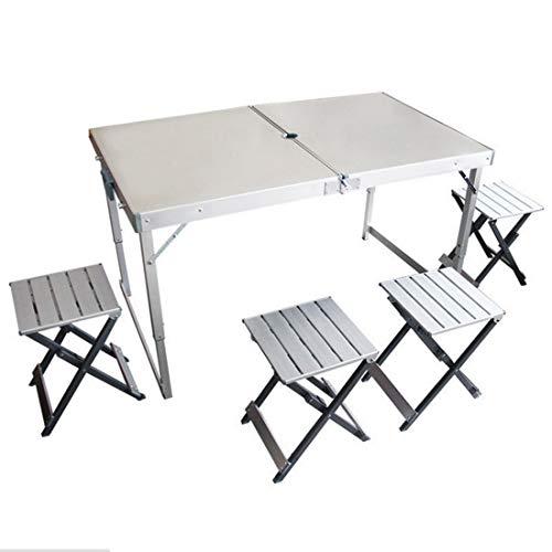 Kamiwwso Table de Pique-Nique extérieure et Combinaison de Chaise en Aluminium Se Pliant Portable BBQ Table et chaises réglables (Size : One Size)