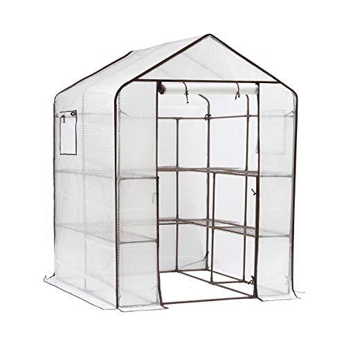 sekey serra da giardino con 10 ripiani, con porta per arrotolare la serra, per pomodori, verdure, giardino, 143 x 143 x 195 cm, bianco serra giardino tunnel