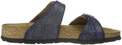 Birkenstock Damen Sydney Textil Pantoletten Blau (Metallic Knit Blue)