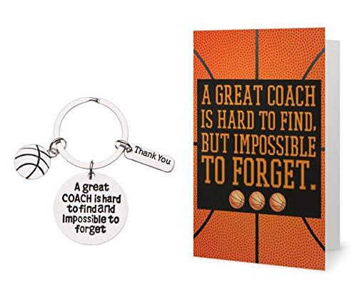 Sportybella Basketball Coach Schlüsselanhänger & Karte, Basketball Coach Geschenke, toller Trainer ist schwer zu Finden Coach Schlüsselanhänger für Männer und Frauen -