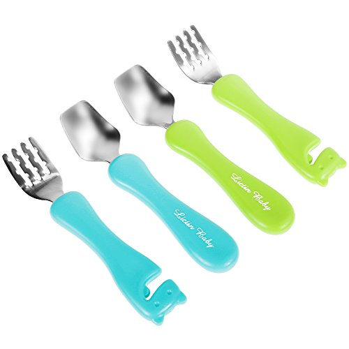 Lictin 5 piezas Juego de tenedores y cucharas para bebés PP de calidad alimentaria y acero inoxidable Vajilla azul claro and verde limón para bebé con bolsa de almacenamiento, paquete de 5 Pcs