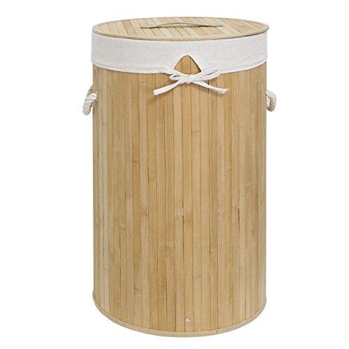 WM Homebase Wäschekorb aus Bambus Rund Aufbewahrungsbox mit Deckel naturfarben Ø 36 cm Faltbare Wäschetruhe rund(36x60x36cm)