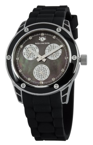 Wellington Geraldine Women's Quartz Watch with Mother of Pearl Dial Analogue Display and Black Silicone Strap WN506-122A