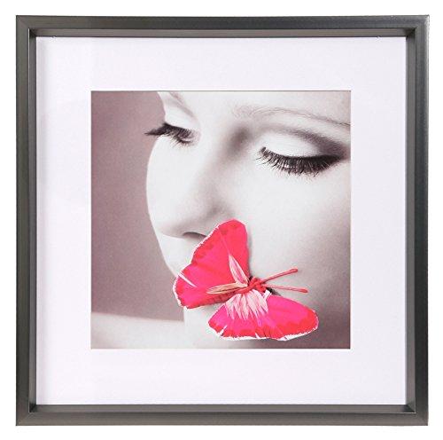 Ideal Style Kunststoff Bilderrahmen quadratisch 20x20 30x30 40x40 50x50 Rahmen: Farbe: Stahl | Format: 40x40