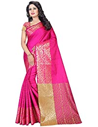 SATYAM WEAVES WOMEN'S ETHNIC WEAR POLYCOTTON SAREE WITH BLOUSE PIECE. (PINK)