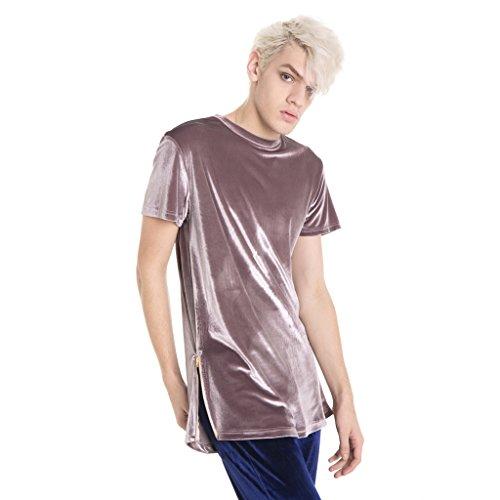 Pizoff Unisex Hip Hop Samt T-Shirt aus Velours mit seitlichen Reißverschlüssen in Versch.Farben Y1520-Gray-purple