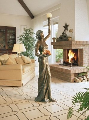 Kerzenhalter Bronzefigur Skulptur echte Handarbeit Gartenskulptur Gartenfigur Garten-Statue