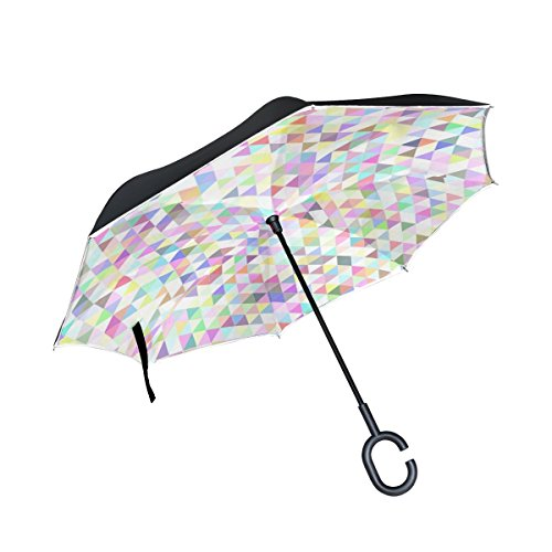 JOCHUAN Double Layer Inverted Triangle Tile Mosaic Abstract Color Umbrellas Reverse Folding Umbrella Windproof Uv Protection Big Straight Umbrella For Car Rain Outdoor With C-shaped Handle
