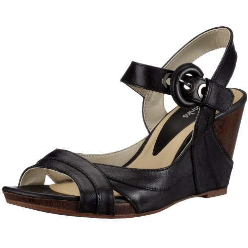 Clarks Silver Mine2 Black Leather 203404314045, Damen Sandalen/Fashion-Sandalen, schwarz, (Black Leather black), EU 37 1/2 (UK 4 1/2) Clarks 10 Damen