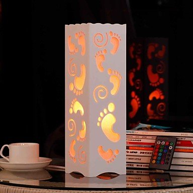 RGB Hollow Out Feet Shaped Wooden Table Lamp with Polymer Lampshade and Remote Controller(220-240V)
