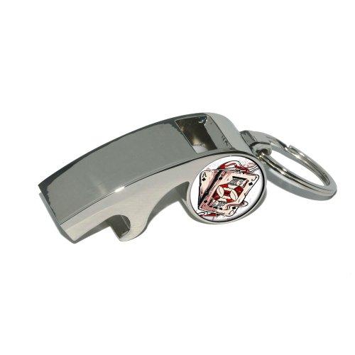 ACE JACK OF SPADES–Deck Karten Poker Glücksspiel–Vergoldetes Metall Whistle Flaschenöffner Schlüsselanhänger Ring (Glücksspiel-zubehör)