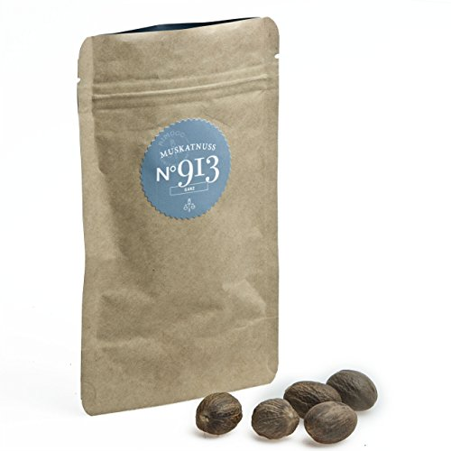 Bio Muskatnuss N°913 - feinste Qualität aus Grenada, im praktischen Kraftpapier Zip-Beutel, Inhalt: 5 Stück (Bio-muskatnuss)