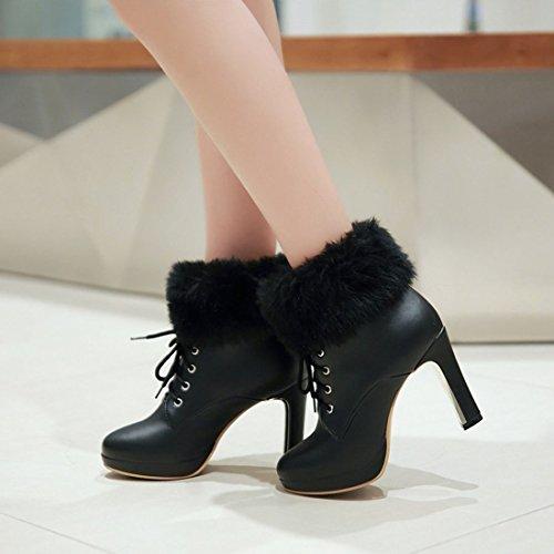 YE Plateau High Heel Blockabsatz Schnürstiefeletten mit Fell Elegant Fashion 10cm Absatz Warm Gefütterte Herbst Winter Damenstiefel Schwarz