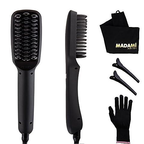 Hair Straightening Brush with Ceramic Tourmaline Built-in Ionic, Fast Straight