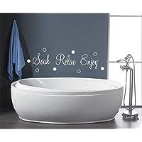 SOAK RELAX ENJOY BUBBLES BATHROOM SHOWER WALL ART QUOTE DECAL STICKER (white)