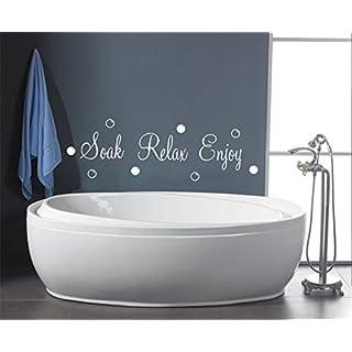 SOAK RELAX ENJOY BUBBLES BATHROOM SHOWER WALL ART QUOTE DECAL STICKER (black)
