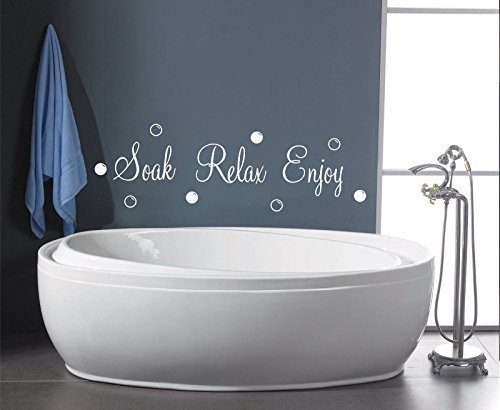 SOAK RELAX ENJOY BUBBLES BATHROOM SHOWER WALL ART QUOTE DECAL STICKER  (white) Part 56