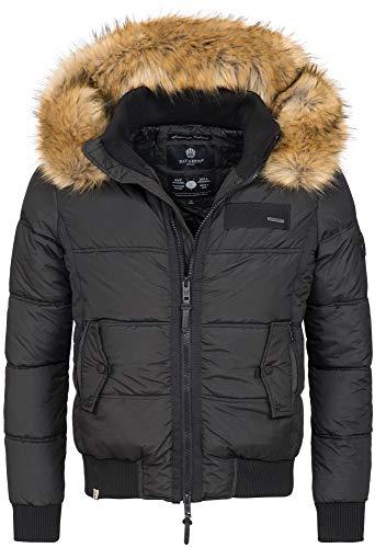 Navahoo Herren Winterjacke Kapuze Kunstfell Winter Jacke warm gefüttert B635 [B635-Captain-Schwarz-Gr.S]