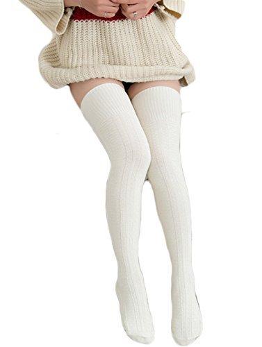 HITOP 1 Paar Damen Overknee Überknie Kniestrümpfe Mädchen Hold-up-Strümpfe Retro Schüler Knitting Sportsocken (Beige)