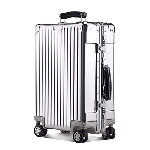 Catherine De Verschleißfestes Aluminium-Magnesium-Legierung Trolley Koffer Reisekoffer Passwort-Box Computer Boarding Koffer,Silver,24Inches