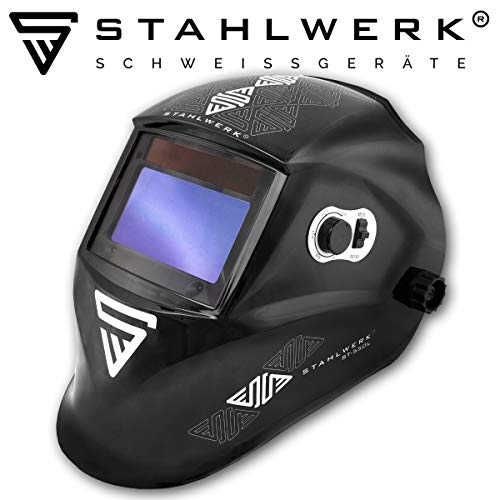 STAHLWERK ST-550L Vollautomatik Schweißhelm, Optische Klasse: 1/1/1/1, großes Sichtfeld, inkl. 5 Ersatzscheiben & Tasche, 5 Jahre GARANTIE* auf FILTER