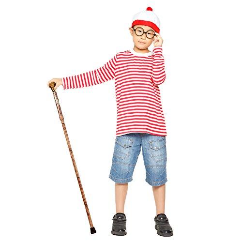 Anladia Kinder Jungen Wo ist Walter Kostuem gestreift T-Shirt Pulli mit Muetze Brille fr. Karneval Party (Waldo Kostüm Zubehör)