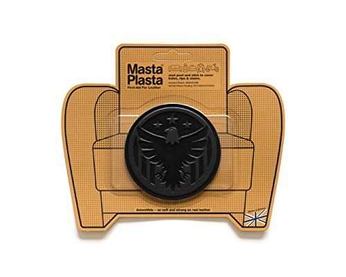 Black MastaPlasta Self-Adhesive Leather Repair Patches. Choose size/design. First-aid for sofas, car seats, handbags, jackets etc. (BLACK EAGLE 8cmx8cm)