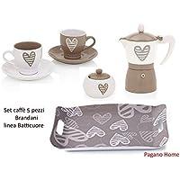 Brandani Batticuore Set Caffè 5 pezzi (2 tazzine caffè con piattino , caffettiera , zuccheriera , vassoio cm 55x30