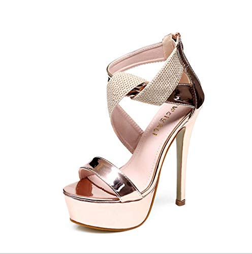 DUQI22 Frauen Extreme High Heels Schuhe, Knöchelriemen Peep Toe Pumps Hochzeit Kleid Stiletto Slip on Sandalen Pole Dance Schuhe,Gold,40EU -