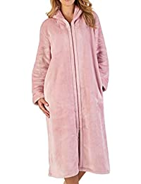 Slenderella Ladies Zip Up Collar Dressing Gown Luxury Thick Flannel Fleece  Bath Robe (Small - 8fcac6c4a