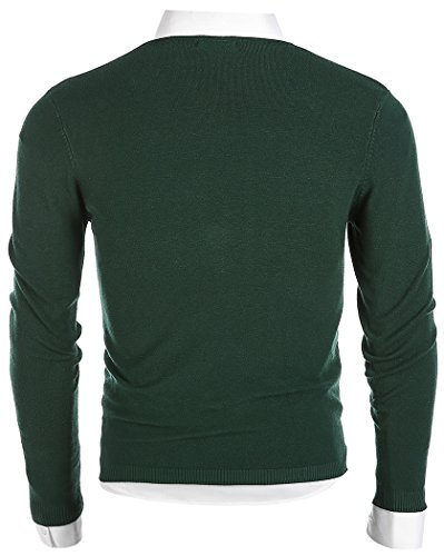 Mocotono Herren Strickpullover Sweatshirts Langarmshirt V-Ausschnitt Dunkelgrün