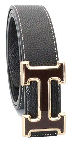 QHA - Cinturón de piel para hombre, diseño de letra H Negro Negro (102 2c391f9462a