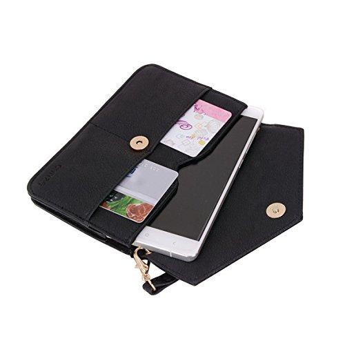 Conze da donna portafoglio tutto borsa con spallacci per Smart Phone per Intex Aqua Power Grigio Grey Black