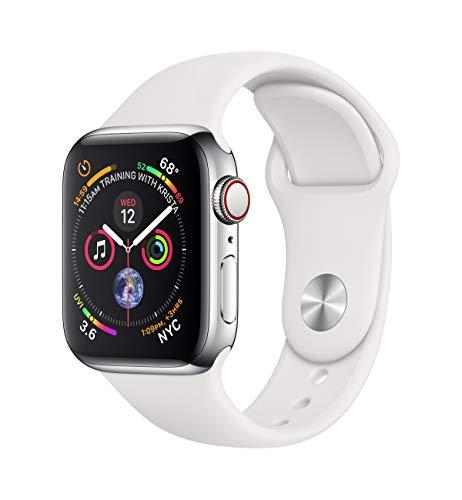 AppleWatch Series4 (GPS + Cellular) 40mm Edelstahlgehäuse mit Sportarmband, Weiß