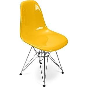 Chaise DSR Charles Eames Style - Fibre de verre Brillant Jaune